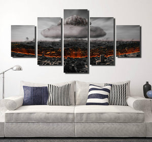 5 Panel Poster City Nuclear Explosion Print Picture-064 (1)