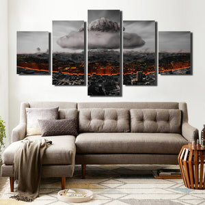 5 Panel Poster City Nuclear Explosion Print Picture-064 (2)