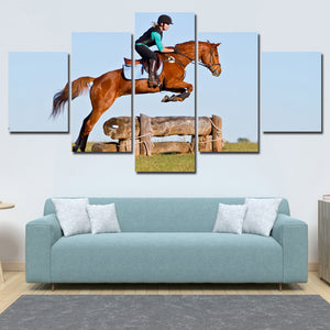 5 Panel Poster Horse Riding HD Canvas Print Painting Art Wall Decor-134 (1)