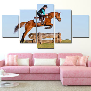 5 Panel Poster Horse Riding HD Canvas Print Painting Art Wall Decor-134 (2)