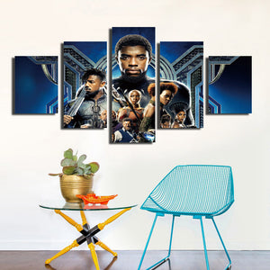 5 Panel Poster Print Picture Black Panther Canvas Wall Art Painting-060 (1)