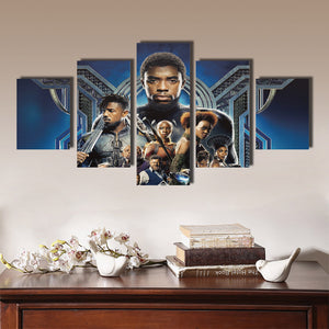 5 Panel Poster Print Picture Black Panther Canvas Wall Art Painting-060 (2)