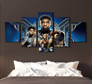 5 Panel Poster Print Picture Black Panther Canvas Wall Art Painting-060 (3)