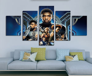 5 Panel Poster Print Picture Black Panther Canvas Wall Art Painting-060 (4)