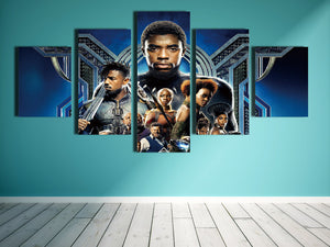 5 Panel Poster Print Picture Black Panther Canvas Wall Art Painting-060 (5)