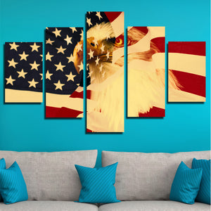 5 Panel Poster Print Retro American Flag Bald Eagle Canvas Wall Art-092 (1)