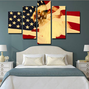 5 Panel Poster Print Retro American Flag Bald Eagle Canvas Wall Art-092 (2)