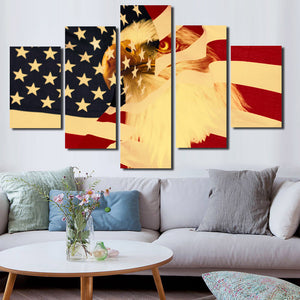 5 Panel Poster Print Retro American Flag Bald Eagle Canvas Wall Art-092 (3)