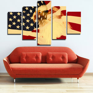 5 Panel Poster Print Retro American Flag Bald Eagle Canvas Wall Art-092 (4)