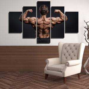 5 Panel Power Bodybuilder Fitness Motivational Art Canvas Prints Decor-095 (1)