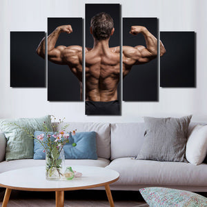 5 Panel Power Bodybuilder Fitness Motivational Art Canvas Prints Decor-095 (3)