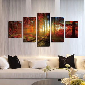 5 Panel Red Tree Forest Sunshine Canvas Print Painting-039 (1)