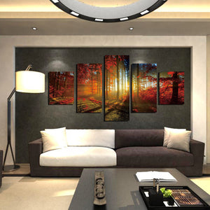 5 Panel Red Tree Forest Sunshine Canvas Print Painting-039 (2)