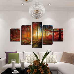 5 Panel Red Tree Forest Sunshine Canvas Print Painting-039 (3)