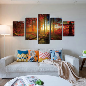 5 Panel Red Tree Forest Sunshine Canvas Print Painting-039 (4)