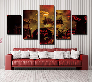 5 Panel Rock Music Jazz Drum Kit Canvas Prints- 075(1)