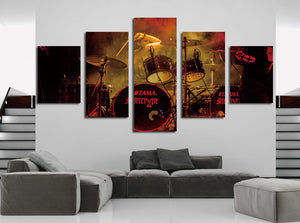 5 Panel Rock Music Jazz Drum Kit Canvas Prints- 075(2)