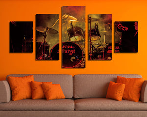 5 Panel Rock Music Jazz Drum Kit Canvas Prints- 075(3)