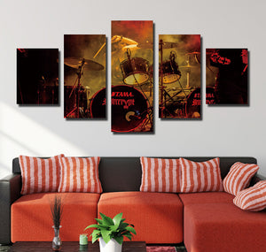 5 Panel Rock Music Jazz Drum Kit Canvas Prints- 075(4)