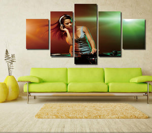 5 Panel Sexy DJ Girl Print Picture Canvas Wall Decor Art -068 (1)