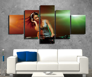 5 Panel Sexy DJ Girl Print Picture Canvas Wall Decor Art -068 (3)