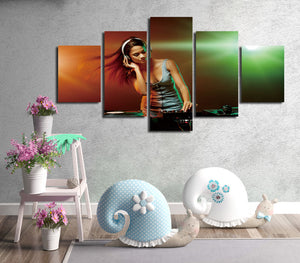 5 Panel Sexy DJ Girl Print Picture Canvas Wall Decor Art -068 (4)