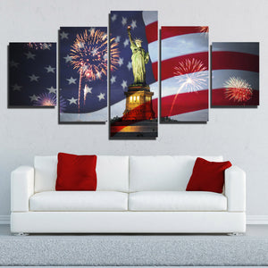 5 Panel Statue of Liberty and American Flag Fireworks Print Art-201 (1)