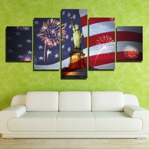 5 Panel Statue of Liberty and American Flag Fireworks Print Art-201 (2)