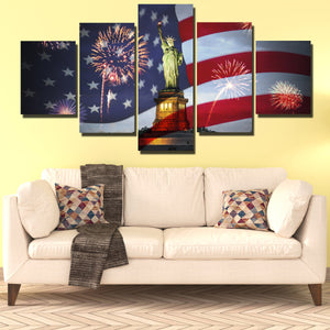 5 Panel Statue of Liberty and American Flag Fireworks Print Art-201 (3)