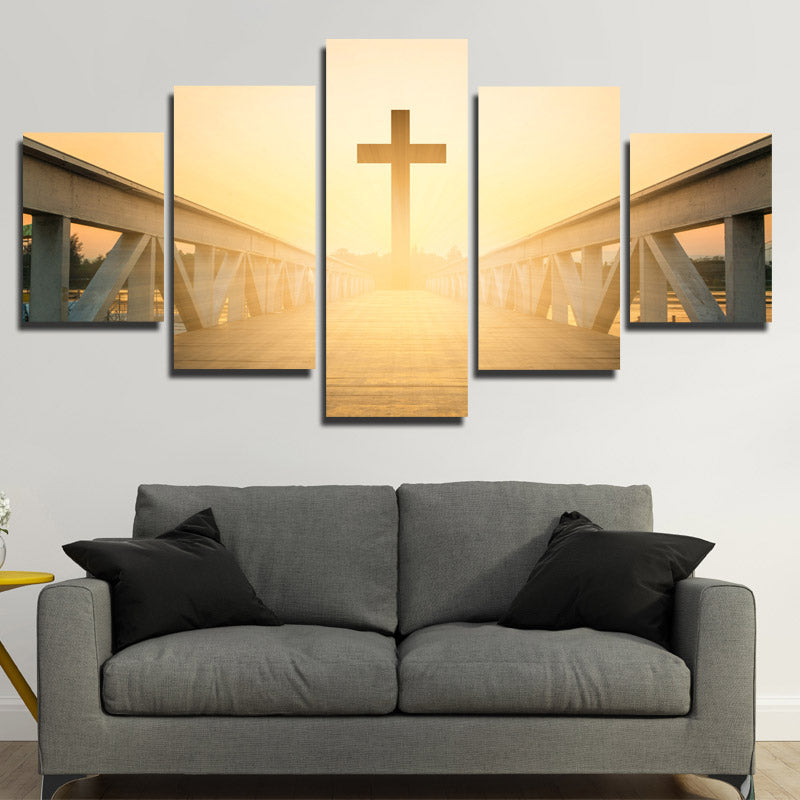 5 Panel Sunset Christian Cross Picture Canvas Prints Wall Art Poster ...