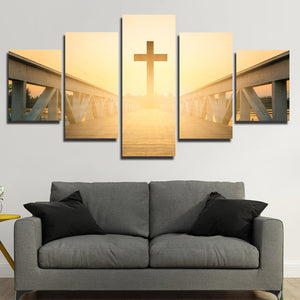5 Panel Sunset Christian Cross Picture Canvas Prints Wall Art Poster-089 (1)