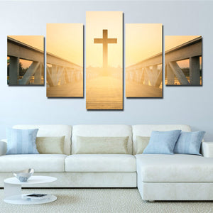 5 Panel Sunset Christian Cross Picture Canvas Prints Wall Art Poster-089 (2)