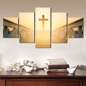 5 Panel Sunset Christian Cross Picture Canvas Prints Wall Art Poster-089 (4)