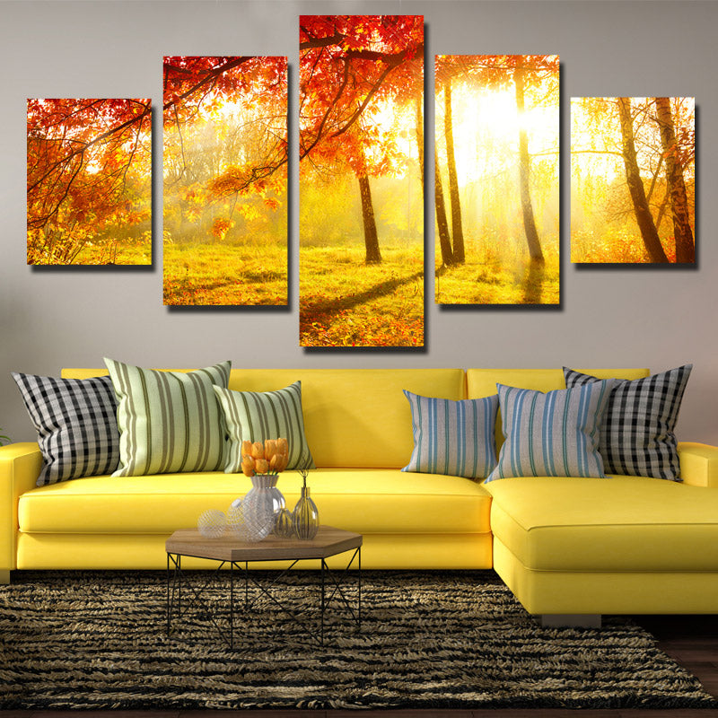 5 Panel Sunshine in Fall Forest Scenery Painting Canvas Print Wall ...