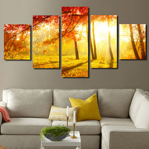 5 Panel Sunshine in Fall Forest Scenery Painting Canvas Print-079 (2)