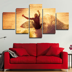 5 Panel Surfer Waves Canvas Print Painting Wall Art Poster Picture-108 (1)