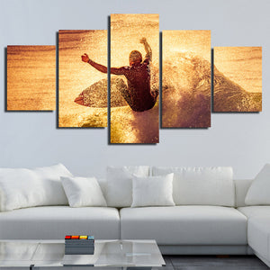 5 Panel Surfer Waves Canvas Print Painting Wall Art Poster Picture-108 (2)