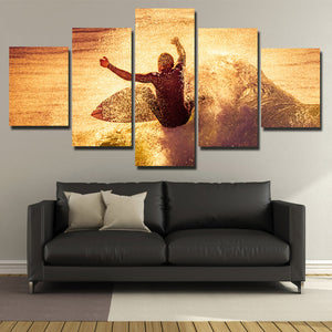 5 Panel Surfer Waves Canvas Print Painting Wall Art Poster Picture-108 (3)