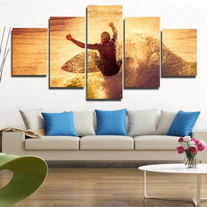 5 Panel Surfer Waves Canvas Print Painting Wall Art Poster Picture-108 (4)