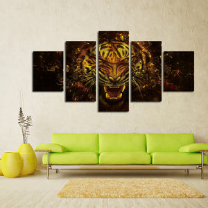 5 Panel Tiger Canvas Prints Painting Picture-043 (1)