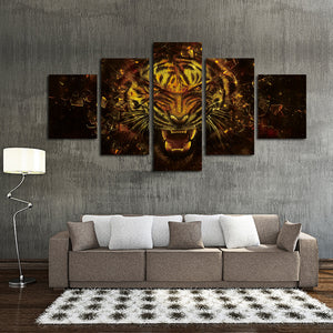 5 Panel Tiger Canvas Prints Painting Picture-043 (2)