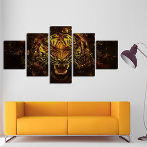 5 Panel Tiger Canvas Prints Painting Picture-043 (4)