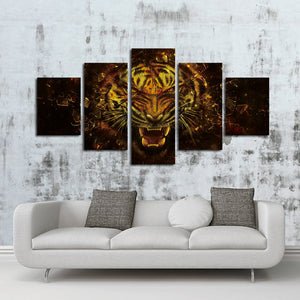 5 Panel Tiger Canvas Prints Painting Picture-043 (5)