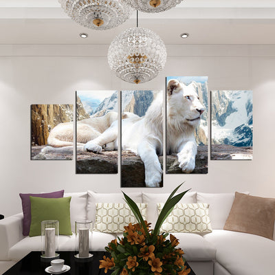 5 Panel White Lion Canvas Painting Animal Prints Wall Art Decor