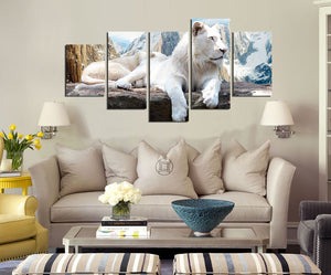 5 Panel White Lion Canvas Painting Animal Prints-030 (2)