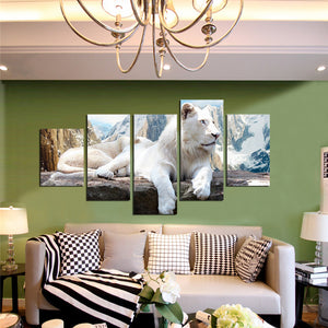5 Panel White Lion Canvas Painting Animal Prints-030 (3)
