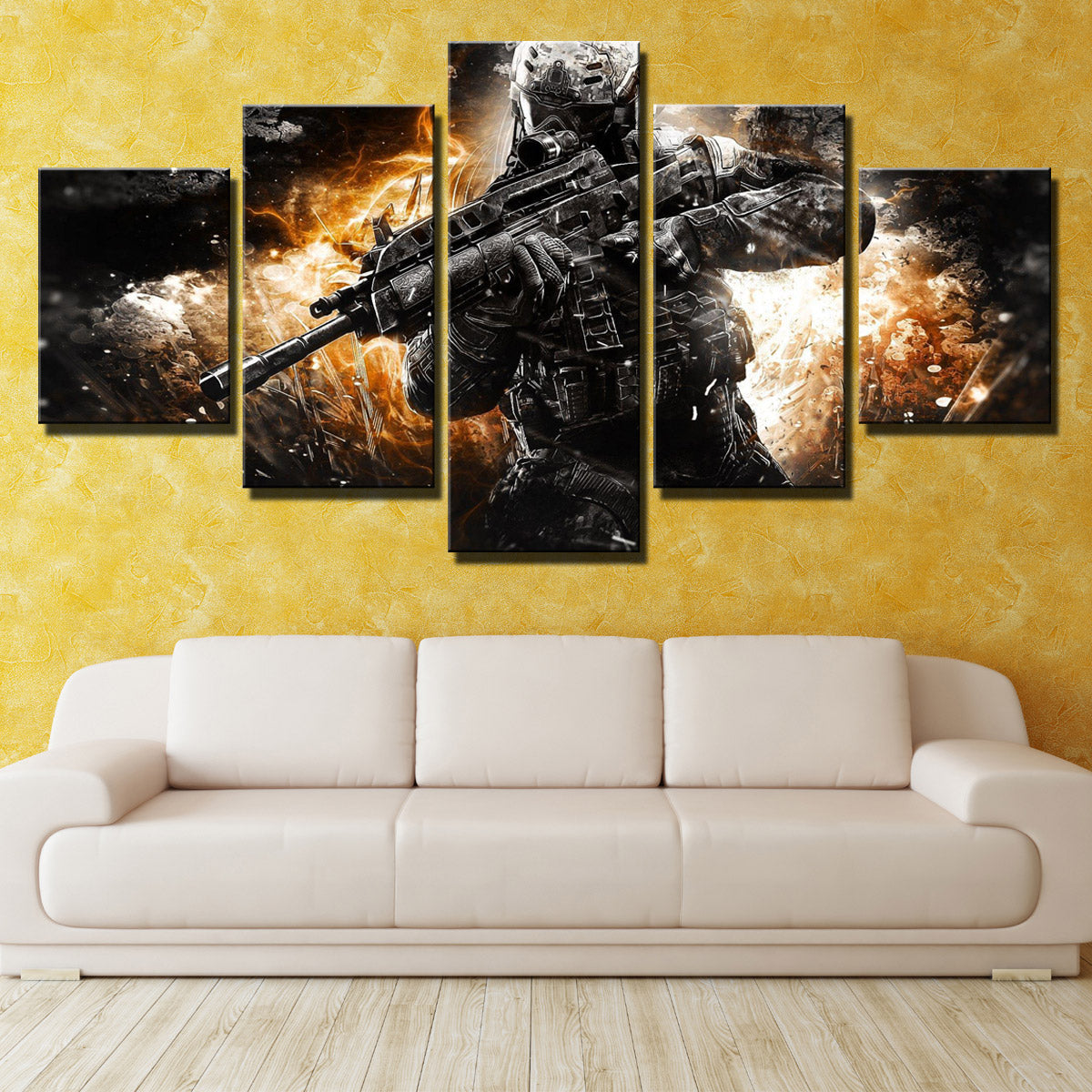 5 Piece Call of Duty MW3 Soldier Modern Canvas Art Print Picture ...