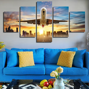 5 Piece Canvas Art Airplane take off Poster Painting Print-082 (1)