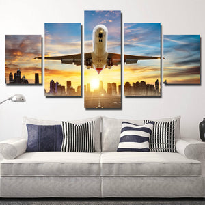 5 Piece Canvas Art Airplane take off Poster Painting Print-082 (2)