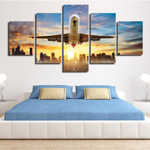 5 Piece Canvas Art Airplane take off Poster Painting Print-082 (3)